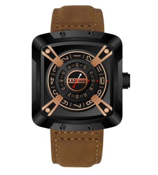 e6c7da916 Kademan Brown Business Casual Waterproof Leather Strap Square Dial with  Unique Display and Rotating Logo Watch